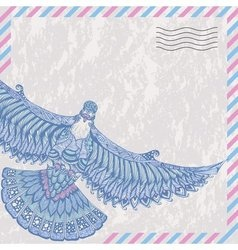 Decorative flying dove on the card stylized vector