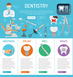 Dental services banner and infographics vector