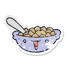 Distressed sticker of a cute cartoon bowl of vector