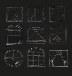 Doodle windows set isolated on black background vector