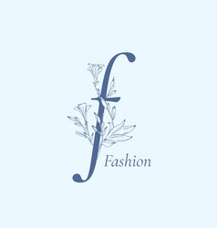 Fashion floral letter f abstract sign vector
