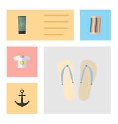 flat hot set of beach sandals wiper clothes vector image