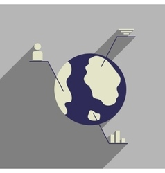 Flat web icon with long shadow Earth infographics vector image