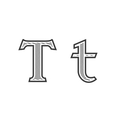 Font tattoo engraving letter T with shading vector