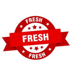 fresh ribbon fresh round red sign fresh vector image