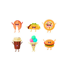 Funny fast food characters set taco pizza vector