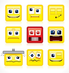 funny square smiles vector image