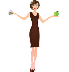 girl holding apple in one hand and cake in another vector image