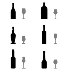 Glasses and bottles vector