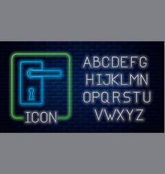 Glowing neon door handle icon isolated on brick vector