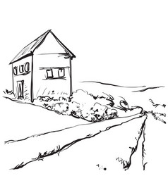 hand drawn of a fields and house vector image