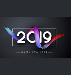 Happy new year 2019 festive banner with colorful vector
