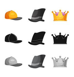 headgear and cap logo set vector image