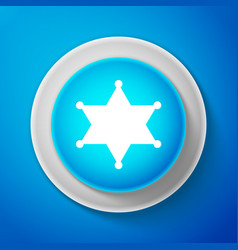 hexagram sheriff icon isolated on blue background vector image