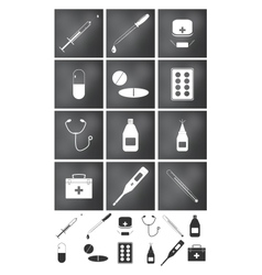 Icons set Medicine and doctor vector