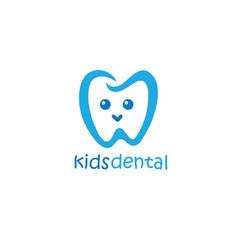 Kids dental logo design mascot design vector