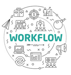 line flat circle workflow vector image