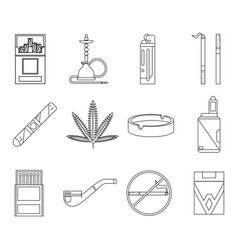lineart design smoking icons set cigarette pipe vector image