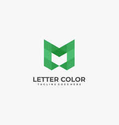 logo abstract letter m low poly style vector image