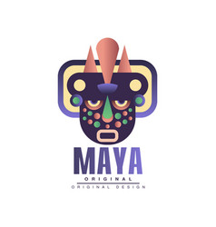 Maya original design emblem with american indian vector