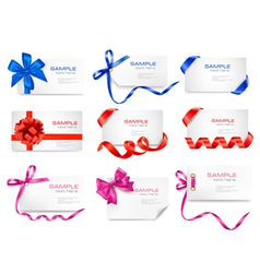 Mega set of cards with colorful gift bows vector