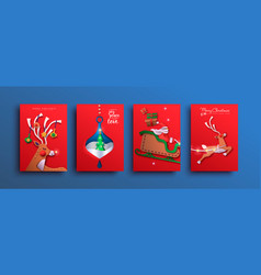 merry christmas papercut deer santa claus card set vector image