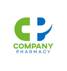 modern natural pharmacy logo vector image