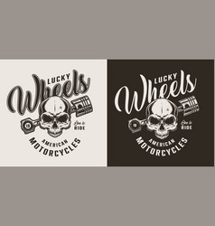 monochrome custom motorcycle shop badge vector image