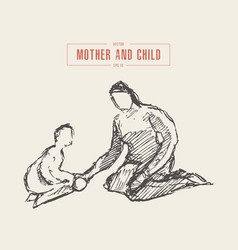mother playing child hand drawn sketch vector image