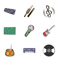 music icons set cartoon style vector image