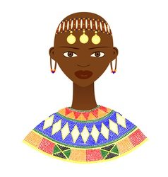 Native African woman with traditional jewelry vector image