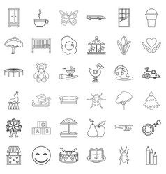 Nursemaid icons set outline style vector