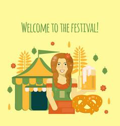 Oktoberfest poster with beer vector