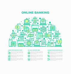 online banking concept in half circle vector image
