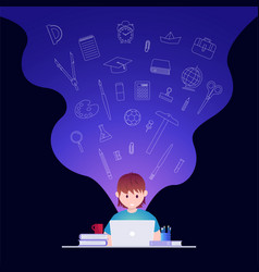 online education and self learning concept vector image