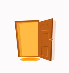 open door cartoon colorful flat vector image