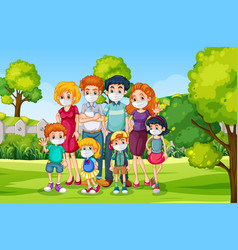 Outdoor scene with family wearing mask vector