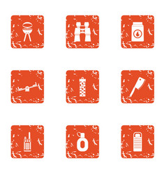 outside bbq icons set grunge style vector image