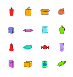 Package icons set cartoon vector