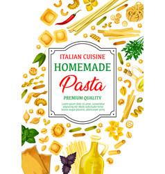 Pasta spaghetti and macaroni with italian herbs vector