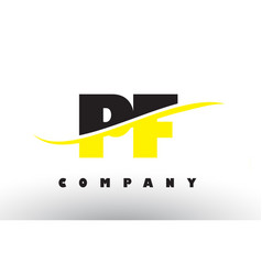 Pf p f black and yellow letter logo with swoosh vector