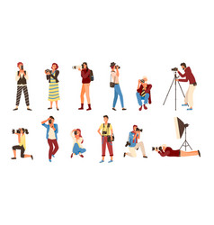 photographers people with cameras professionals vector image