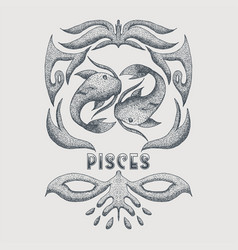 pisces vintage decoration vector image