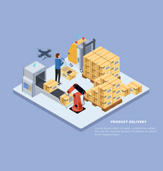 product delivery factory ship boxes warehouse vector image