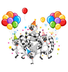 raccoon group in party theme cartoon character on vector image