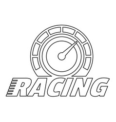 Racing dashboard logo outline style vector