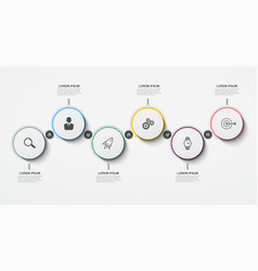 round business infographic timeline with 6 vector image