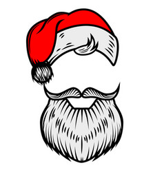 Santa claus beard and hat design element for vector