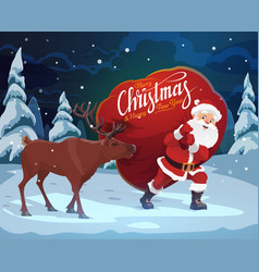 santa claus christmas reindeer and gift bag vector image