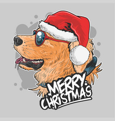 santa claus dog puppy cute golden artwork vector image